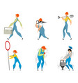 set of six builders vector image