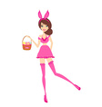 Sexy bunny girl in pink costume vector image