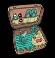 summer beach in suitcase vector image
