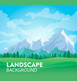 sunny mountain landscape background vector image