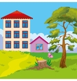 Two Houses On Hill vector image