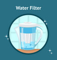 water filter jug pitcher poster with text vector image vector image