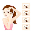 woman drawing her brow by eyebrow stencils vector image vector image