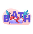 young people characters relaxing and bathing vector image vector image