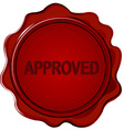 Approved wax seal vector image