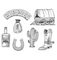 wild west rodeo show sheriff cowboy or indians vector image