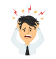 flat man businessman with a headache vector image
