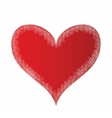 Red heart with silver lace vector image