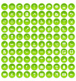 100 beach icons set green circle vector image vector image