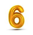 6 six number golden yellow metal letter vector image