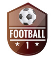 a red emblem with a soccer ball text and a pair vector image vector image