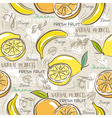 Background with bananas oranges and lemons vector image vector image