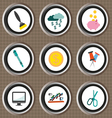 Business icons set flat style over brown backgroun vector image vector image