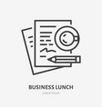 business lunch flat line icon signing documents vector image vector image