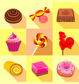 candy icons set flat style vector image