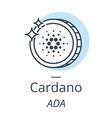 cardano cryptocurrency coin line icon of virtual vector image vector image