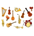 Cartoon set of colored musical instrument icons vector image vector image