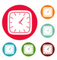 clock wall icons circle set vector image