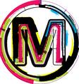 Colorful Grunge Font LETTER M vector image vector image