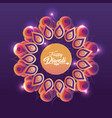 diwali festival with flower mandala and lights vector image