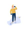 elderly man character skiing vector image vector image