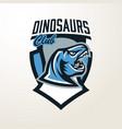 emblem sticker badge dinosaur head logo vector image vector image