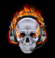 Flaming Chrome metal Skull with headphones speak vector image vector image