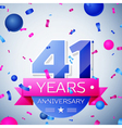 Forty one years anniversary celebration on grey vector image vector image