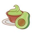 fresh avocado with guacamole sauce vector image vector image
