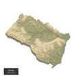 ghana map - 3d digital high-altitude topographic vector image vector image