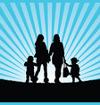 girls with children walking in nature silhouette vector image vector image