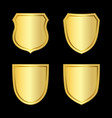 gold shield shape icons set 3d golden emblem vector image