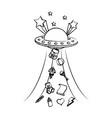 grunge ufo talking away baby toys vector image