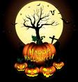 Happy Halloween Pumpkin and Bats in moon night on vector image