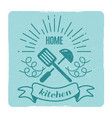 home kitchen cooking label design vector image vector image