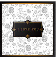 i love you retro flower white background im vector image