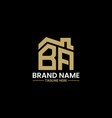 initial letter b and a with roreal estate vector image vector image