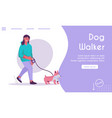 landing page dog walker concept vector image vector image
