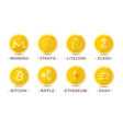 main cryptocurrency coins set vector image