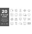 operating system icon set in thin line vector image