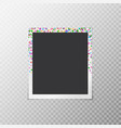 photo frame with festive confetti vector image vector image