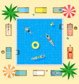 Pool with blue water summer vacation concept