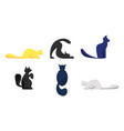 set cute cats different breeds isolated on vector image