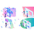 set isometric concept young teenagers working on vector image