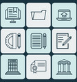 set of 9 school icons includes home work e-study vector image vector image