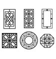 set of chinese window with pattern vector image vector image
