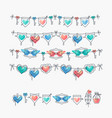 set of isolated love theme icons and bunting vector image vector image