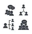 set pictogram social group with chat bubble vector image