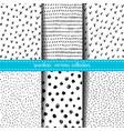 set six hand drawn ink seamless patterns vector image