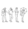 set young and adult men standing monochrome vector image vector image